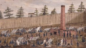 A drawing Andersonville Prison, in Georgia.
